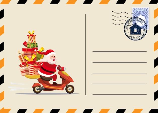 Kerst en nieuwjaar briefkaart met stempels en mark. Premium Vector