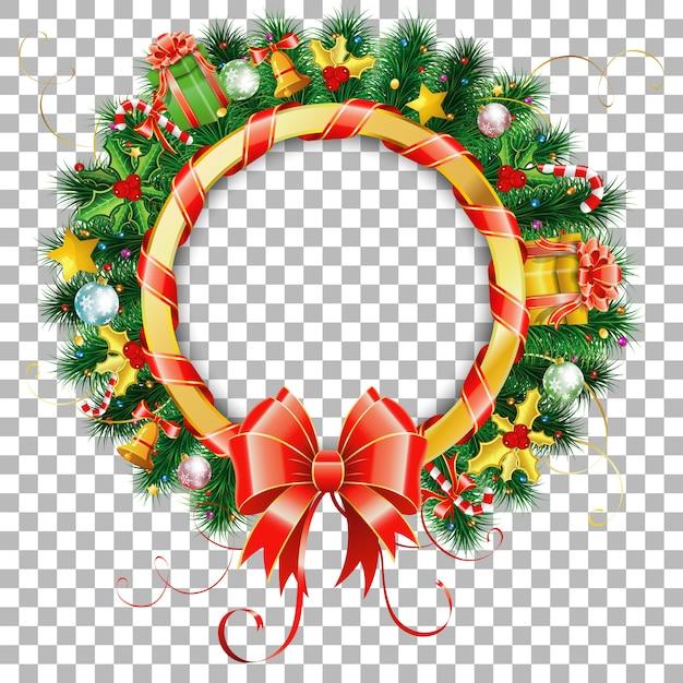 Kerst- en nieuwjaarskrans met geschenk, dennentakken, gouden streamer en snoep. Premium Vector