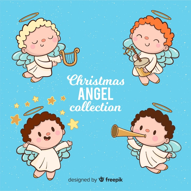 Kerst engelen collectie Gratis Vector
