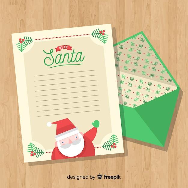 Kerst envelop en brief Gratis Vector