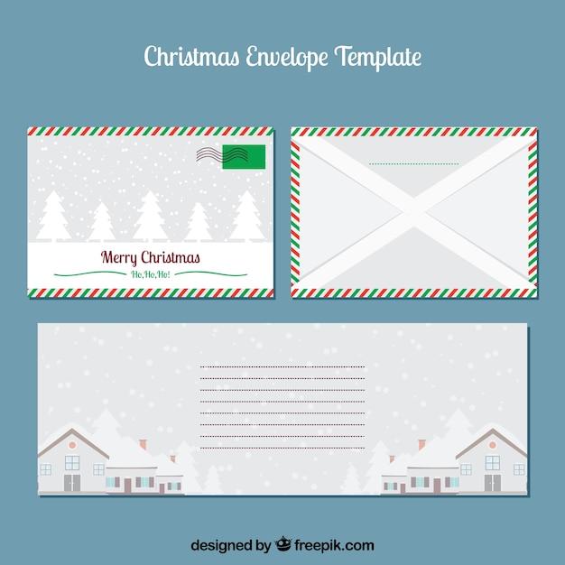 Kerst envelop sjablonen instellen Gratis Vector