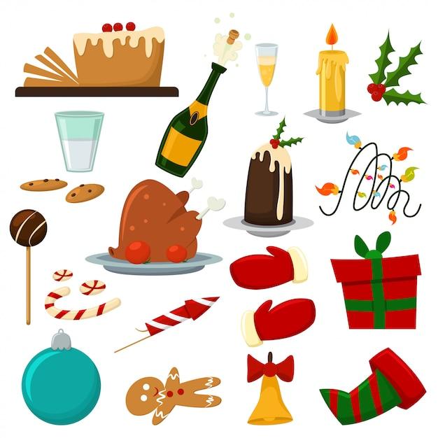 Kerst eten diner set met pudding, een fles champagne, kalkoen, snoep en koekjes, etc. Premium Vector