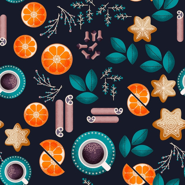Kerst eten naadloze patroon Premium Vector