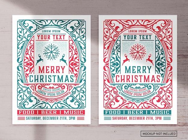 Kerst evenement grafische flyer lay-out Premium Vector