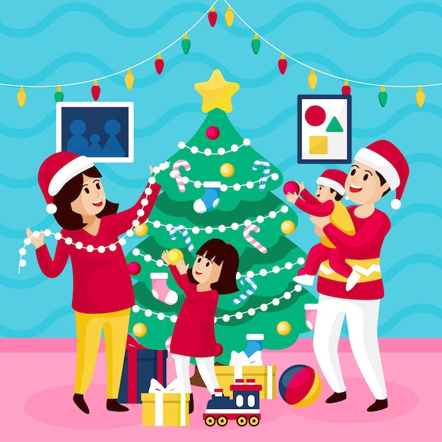 Kerst familie scène concept in plat ontwerp Gratis Vector