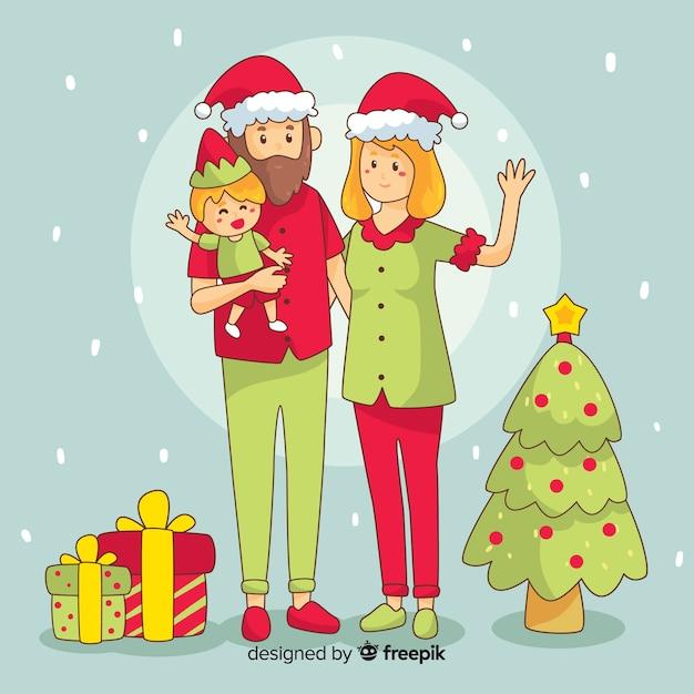 Kerst familie scene Gratis Vector