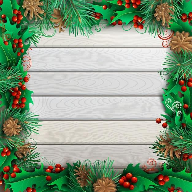 Kerst feestelijk frame op lichte houten achtergrond. hulstbessen, dennentakken en kegels. hoge gedetailleerde illustratie. Premium Vector