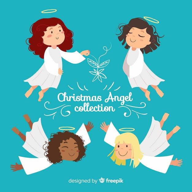 Kerst flat lachende engelen collectie Gratis Vector
