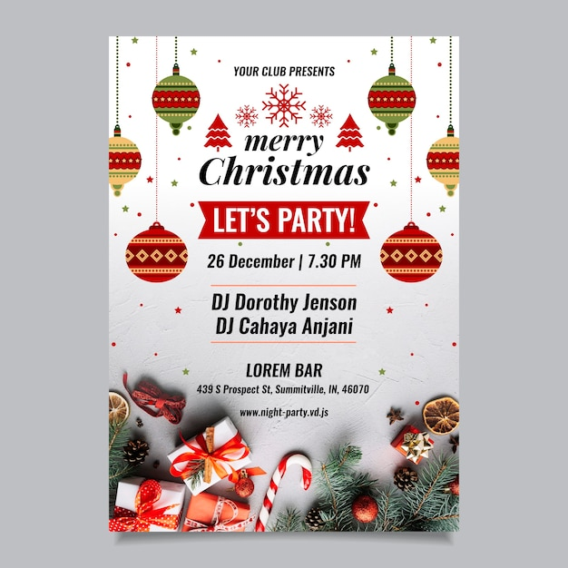 Kerst folder sjabloon met foto Gratis Vector