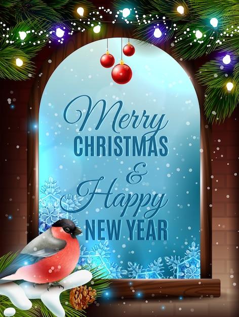 Kerst frame achtergrond Gratis Vector