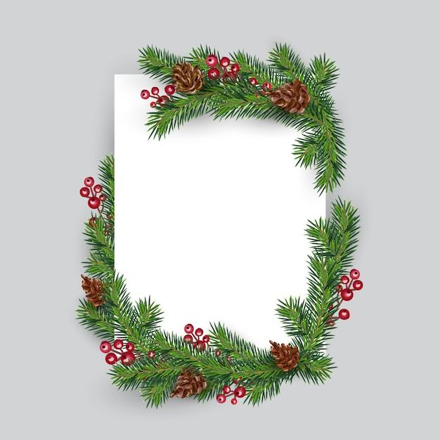 Kerst frame decoratie fir tree en bessen. uitnodiging nieuwjaar wenskaart Premium Vector