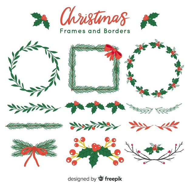Kerst frames en randen Gratis Vector