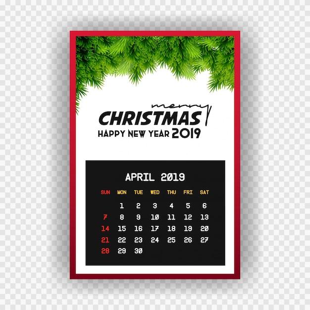 Kerst gelukkig nieuw jaar 2019 kalender april Gratis Vector