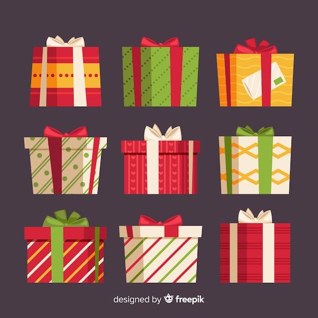 Kerst geschenkverzameling met geometrische patroon Gratis Vector