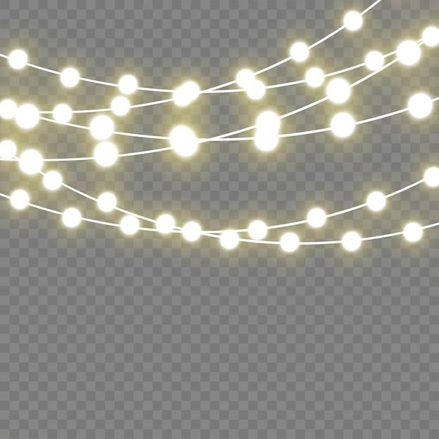 Kerst gloeiende lichten voor vakantie. led neon lamp. Premium Vector
