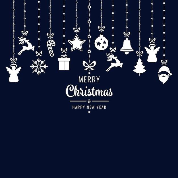 Kerst groeten sieraad elementen opknoping blauwe achtergrond Premium Vector