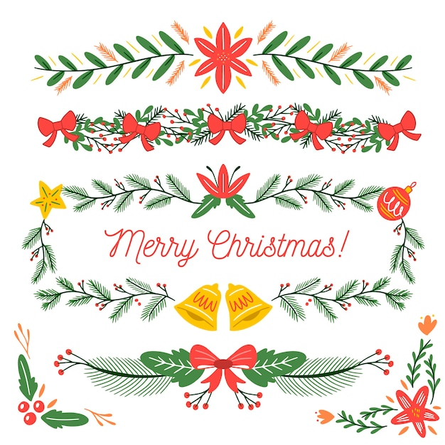 Kerst handgetekende kaders en randen Gratis Vector