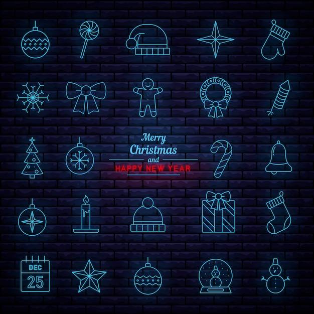 Kerst hangende decoraties. neon uithangborden. Premium Vector