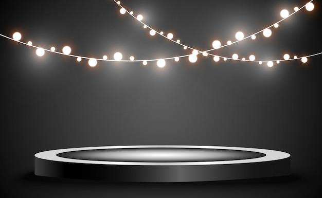 Kerst heldere, mooie lichten, designelementen. gloeiende lichten voor het ontwerpen van kerstkaarten. Premium Vector