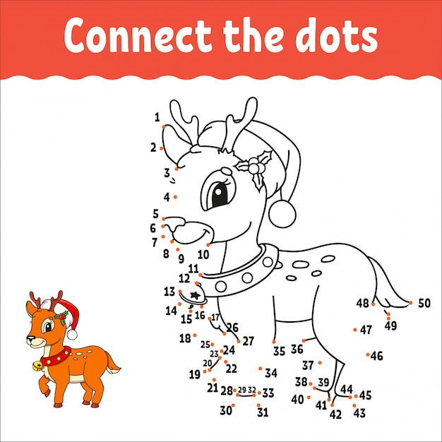 Kerst herten. punt om het spel te stippelen. teken een lijn. handschrift praktijk. leren cijfers voor kinderen. Premium Vector