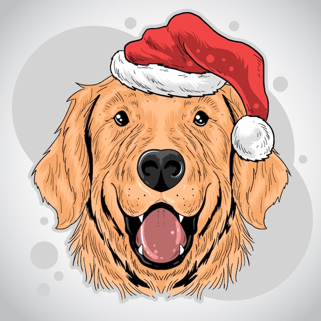 Kerst hond santa claus hoed Premium Vector