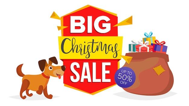 Kerst hond verkoop sjabloon voor spandoek Premium Vector