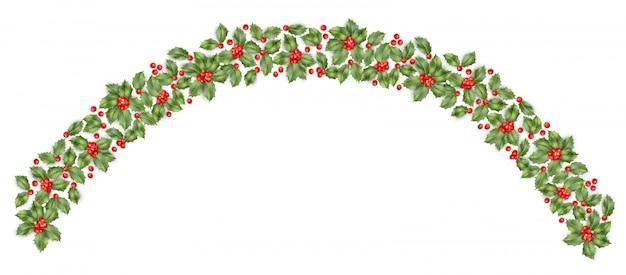 Kerst hulst tak grens met bessen achtergrond. gelukkig nieuwjaarskaart. Premium Vector