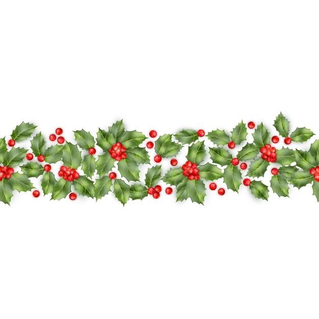 Kerst hulst tak met bessen naadloze rand. gelukkig nieuwjaarskaart-object. Premium Vector
