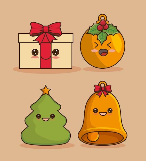 Kerst icon set, kawaii stijl Gratis Vector