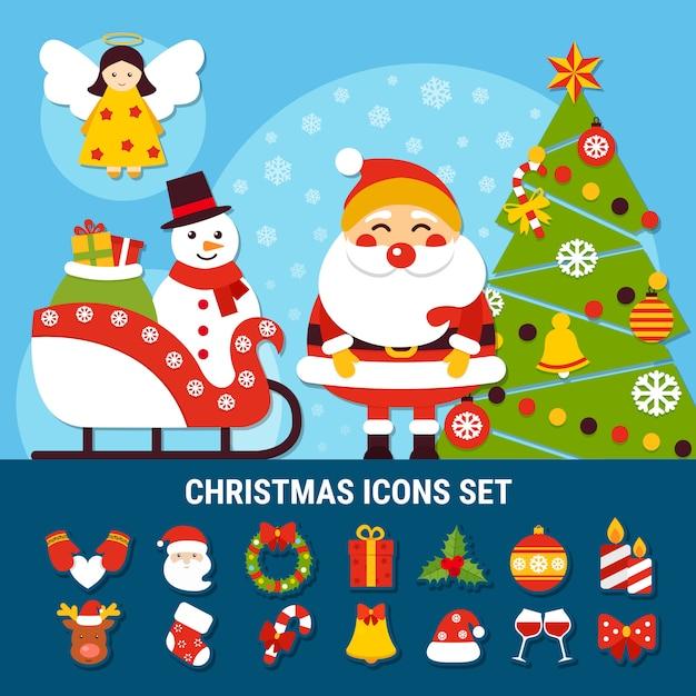 Kerst icons set Gratis Vector