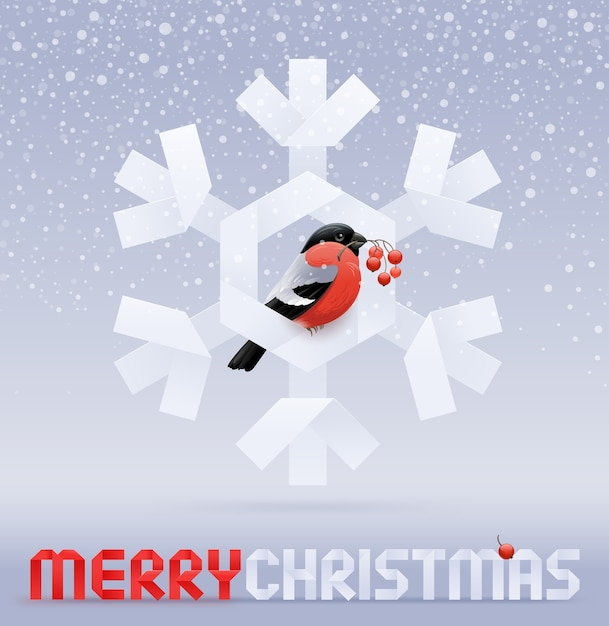 Kerst illustratie - goudvink met rowan branch zittend op een papieren sneeuwvlok Premium Vector