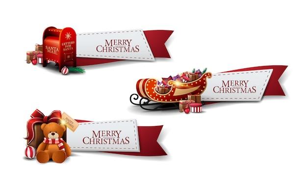 Kerst instellen rode linten met kerst iconen geïsoleerd instellen Premium Vector