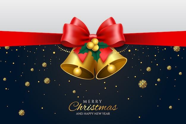 Kerst jingle bells en lint achtergrond Gratis Vector
