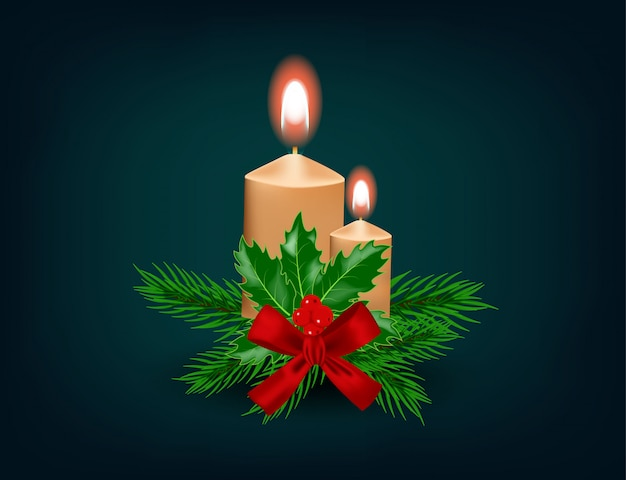 Kerst kaars met lint, decoratie Premium Vector
