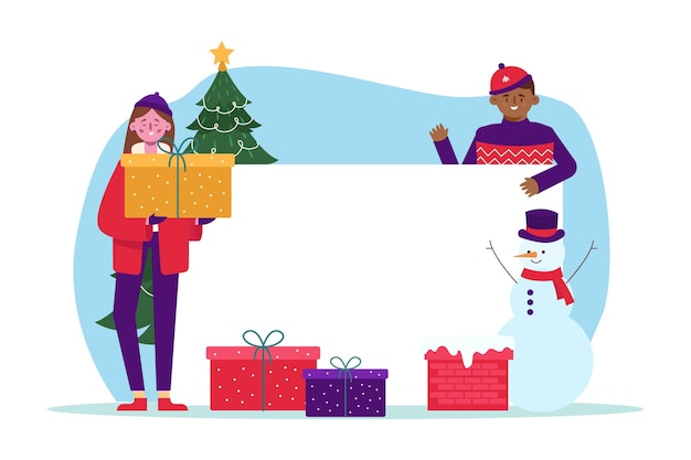 Kerst karakter met lege banner Gratis Vector