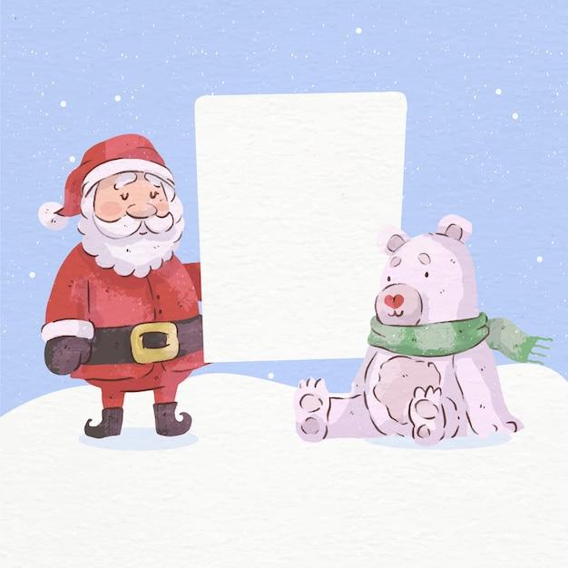 Kerst karakter met lege banner Premium Vector