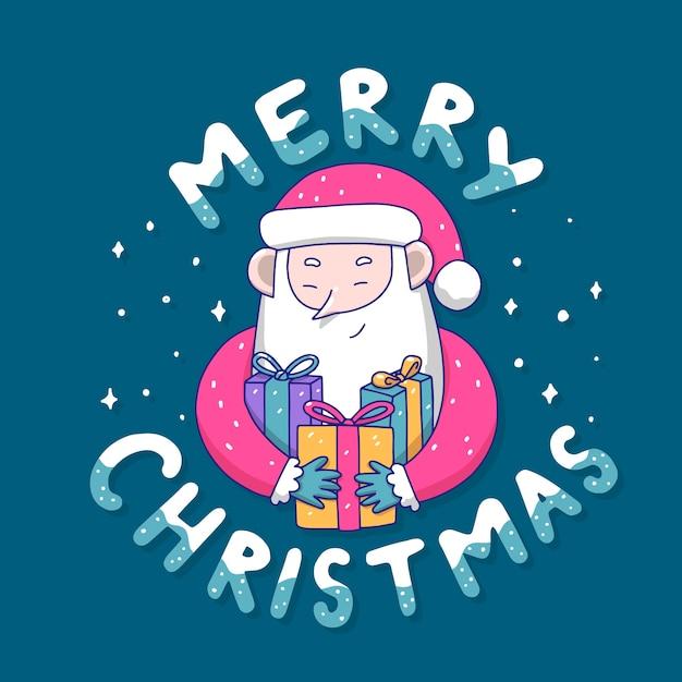 Kerst karakter met letters Gratis Vector