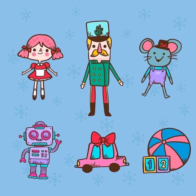 Kerst karakter pop speelgoed hand getrokken Gratis Vector