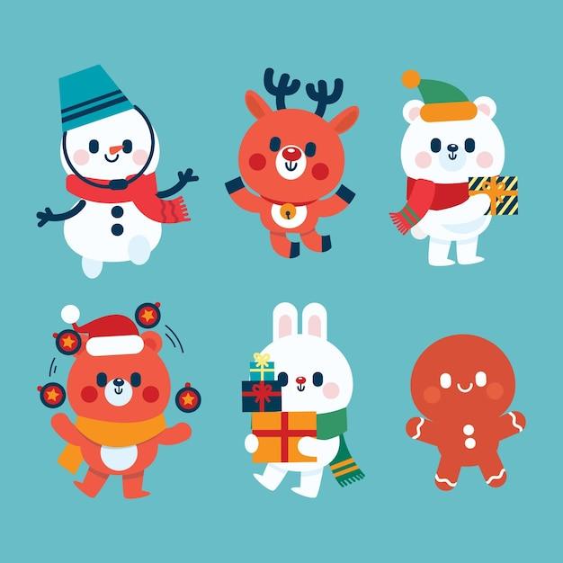 Kerst karakters collectie in plat design Gratis Vector