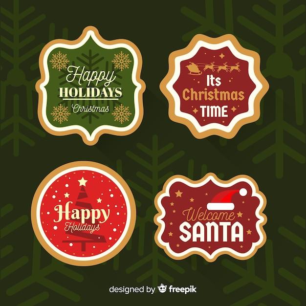Kerst kentekenverzameling Gratis Vector