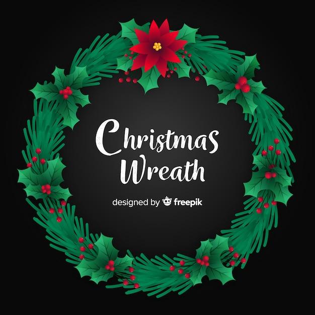 Kerst krans platte ontwerp achtergrond Gratis Vector