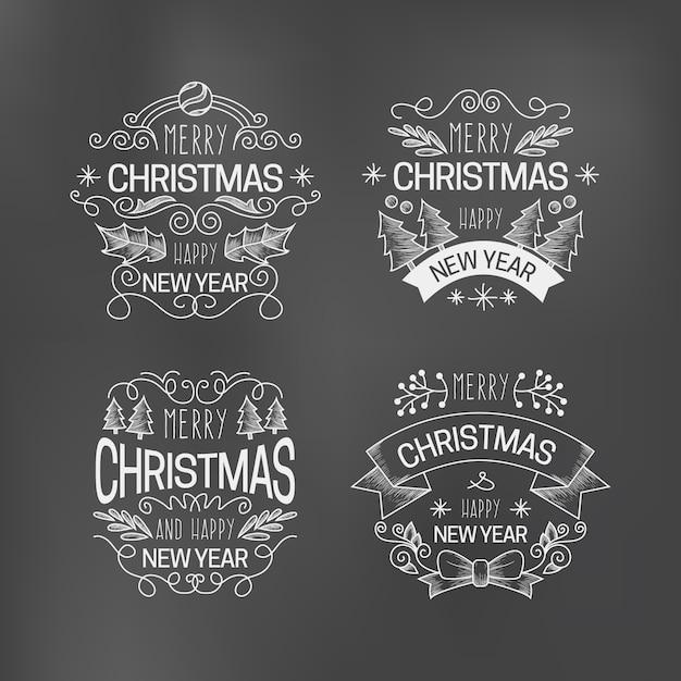 Kerst label collectie op blackboard Gratis Vector