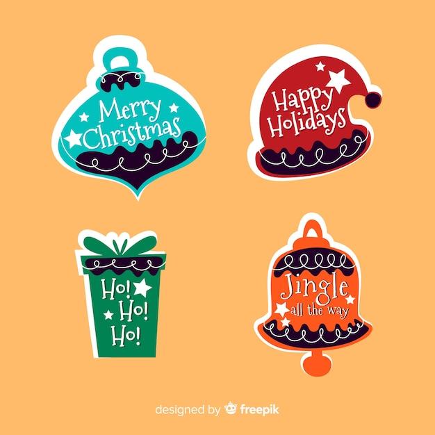 Kerst label collectie platte ontwerpstijl Gratis Vector