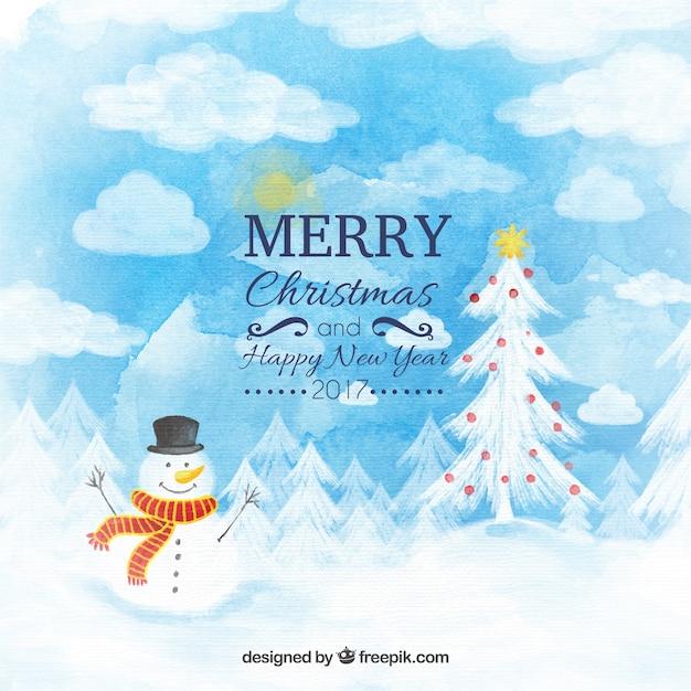 Kerst landschap aquarel achtergrond Premium Vector