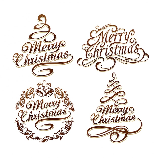 kerst logo collectie Gratis Vector