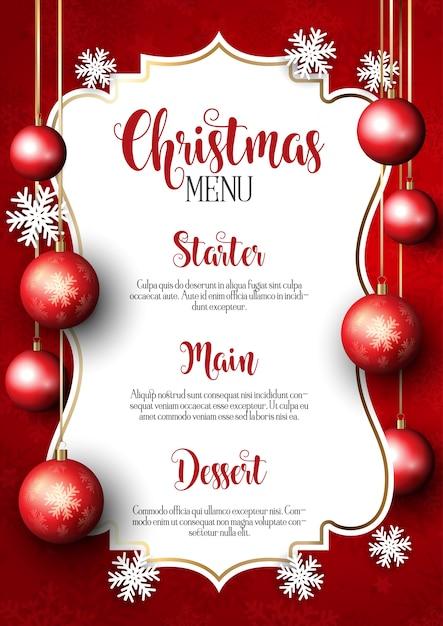 Kerst menu ontwerp achtergrond Gratis Vector