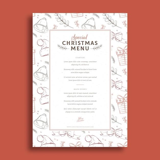 Kerst menu sjabloon hand getrokken stijl Gratis Vector