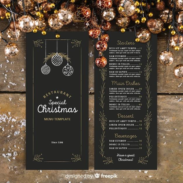 Kerst menusjabloon in vintage stijl Gratis Vector