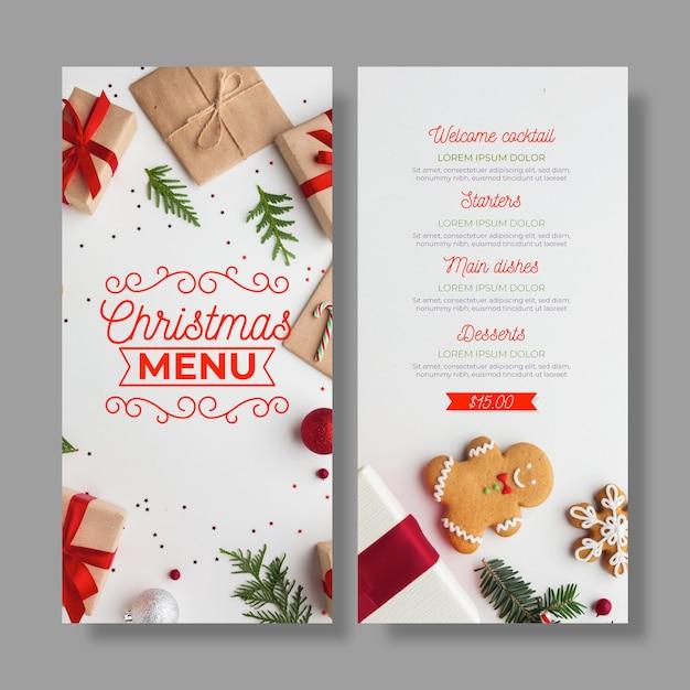 Kerst menusjabloon met foto set Gratis Vector