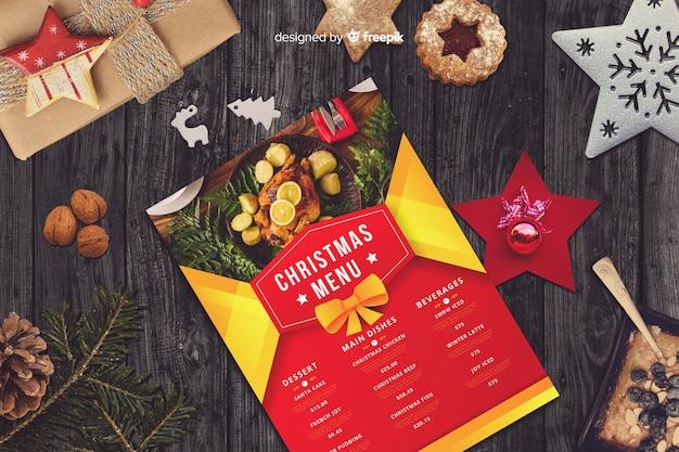 Kerst menusjabloon Gratis Vector